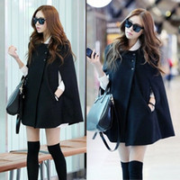 Wholesale Fashion Womens Black Batwing Cape Wool Poncho Jacket Winter Warm Cloak Coat