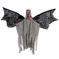 halloween bat - New Style Voice activated Electric Bat Skull Hanging Ghost Tricky Halloween Props Light Bar Decoration