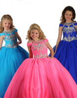 Halter Beads Tulle 2013 New Cute Girl's Pageant Dresses Blue Pink Halter Beads Rhinestone Shining Ball Gowns Floor Length Tulle Hot Little Flower Girl Gowns