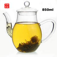 Wholesale 2013 new style Handblown heat resistant glass teapot ml Blooming Tea Scented tea flower tea Special teapot