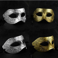 Wholesale Half Face Archaistic Roma Antique Classic Men s Mask Mardi Gras Masquerade Halloween Venetian Costume Party Masks Silver Gold