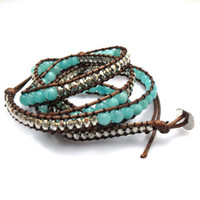 Wholesale New mm Amazoniote jade bead wrap bracelet new design handmade wrap immitation leather bracelet