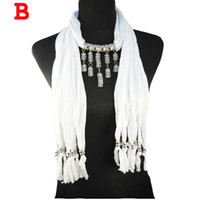Wholesale Pendant jewelry scarf neckerchief accessories multi layered strand handmade scarf necklace with beads pendant colors NL