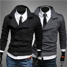 Wholesale 2013 New Mens Hoodies Fleece For Men Slm Fits Designer Sweatshirts Slanting Zippers With Shoulder Knot US XS S M L YS995935