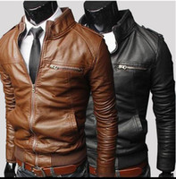 Wholesale 2016 Hot High quality Men slim leather zipper stand collar washed leather male locomotive coat jacket overcoat Y93
