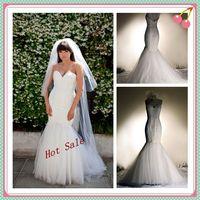 Wholesale 2013 Hot Sale Custom Made Real Sample Quality Modern Sweetheart Mermaid Floor Length Organza Wedding Dress with Appliques Free Veil j11