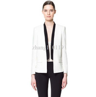 Wholesale 2013 New Fashion Womens Elegant Black amp White Blazer Europen style Jacket casual slim OL outwear coat Brand designer tops