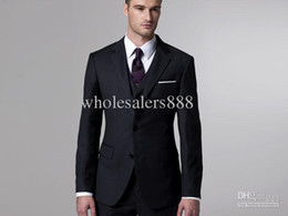 Wholesale New Custom Made Black Two Buttons Groom Tuxedos Best Man Notch Lapel Groomsmen Men Wedding Suits Bridegroom Jacket Pants Tie Ve