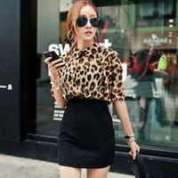 Wholesale Womens Batwing Sleeve Leopard Print Chiffon Tops Mini Skirt Bodycon Dress Party
