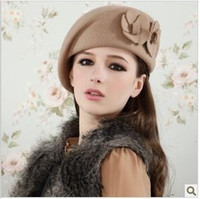 Wholesale Good Quality Woolen Ball Caps Cute Double Flowers Design Berets Solid Color Wool Caps Fashion Hats Women BR0915