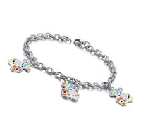 Wholesale Retail Lovely Jewelry L Stainless Steel Colorful Little Bear Charms Bracelet For Girl Lowest Price Best Quality
