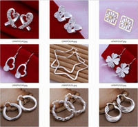 Wholesale 5pairs mixed Sterling Silver Jewelry Earings Brand gift box bag