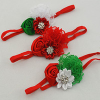 Wholesale Trail order Christmas Gifts lace rosettes flower headbands satin ribbon flower Sparkling Rhinestone elastic headbands