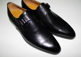 Men Dress shoes Monk shoes Oxfords shoes Custom handmade shoes men's shoes Genuine calf leather Color black HD-N117