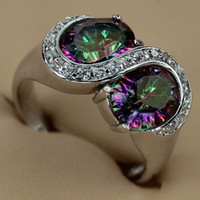 With Side Stones best discount jewelry - Rainbow Mystic stone Fashion jewelry Silver Plated Romantic RING R3276 sz Promotion Favourite Best Sellers Time limited discount