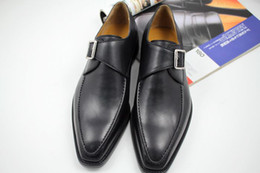 Men Dress shoes Monk shoes Oxfords shoes Custom handmade shoes men's shoes Genuine calf leather Color black HD-N123