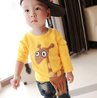 Wholesale Cotton Shirts Kids Yellow Casual T Shirt Children T Shirts Boy And Girl Cute Cartoon Shirts Child Clothes Long Sleeve T Shirt Kids Clothing