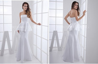 Cheap Plus-Size Dress Customized White Elegant Formal Trumpet Strapless Lace-up Floor-Length Satin Evening and Prom Dress Peplum ZM515