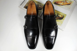 Men Dress shoes Monk shoes Oxfords shoes Custom handmade shoes genuine calf leather Color black double buckles HD-N129