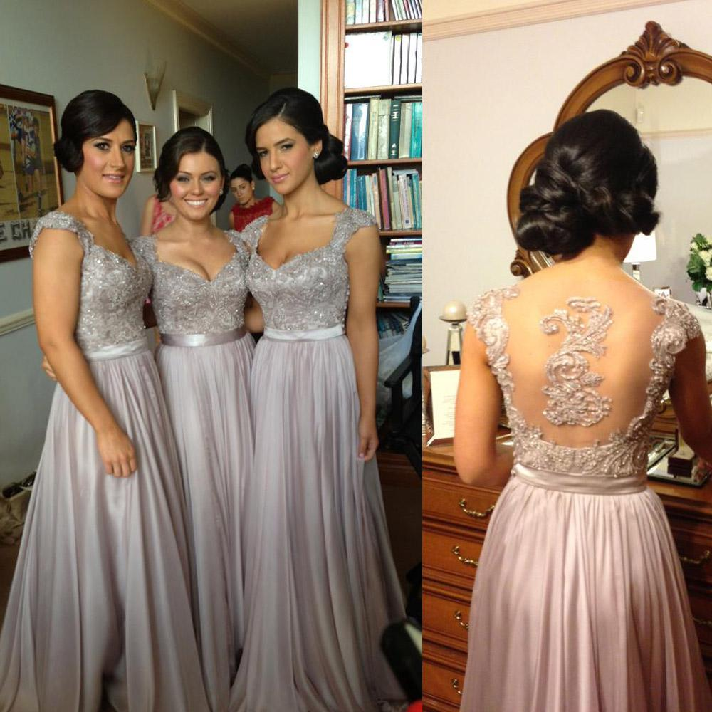 Sexy Luxury Bridesmaid Dresses Beaded Embroidery Sheer Back Cap ...