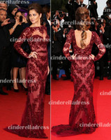 Wholesale 2013 Sexy New Wine Red Tulle Long Sleeve Mermaid Evening Dresses Applique Beaded Red Carpet Evening Gown BO2383