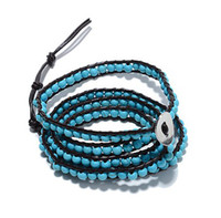 fashion Unisex Party Hot Sale Free Shipping Best Fashion Wholesale 5 Rows 4MM Turquoise Beads Leather Wrap Bracelet