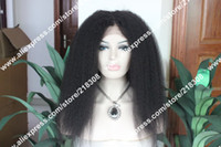 Wholesale Affordable New Fashion inches b Kinky Straight Indian Remy Human Hair lace Front wigs Hot sale epacket Full wig hot