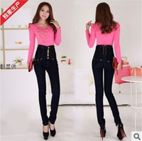 Wholesale 2013 women fashion black high waist feet jeans female slim elasticity single breasted pencil skinny jeans plus size XL XL