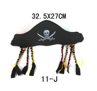 bandanna hat - Halloween Props Bandanna Cap Flat Pirate Hat Pirates of the Caribbean Captain Hat Skeleton Pirates Hat With Pigtail