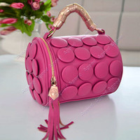 Wholesale New fashion Women s Cylinder Lady Tassel Buttons Bucket Shoulder Bags Cross Body Handbags Zipper Colors