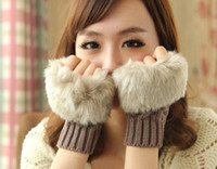 Wholesale new Gird Pattern Brief paragraph In the winter keep warm The wool knitted gloves Fingerless Gloves