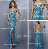 Trumpet/Mermaid Sequins Satin 2013 Sexy New Peacock Blue Straps Sequins Backless Mermaid Prom Dresses Rhinestones Beaded Side Slit Evening Gown BO2384