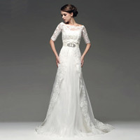 Wholesale Two Piece Design Beaded Lace Tulle with Sleeve Jacket Bolero Wedding Dresses Wedding Gown Dress