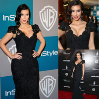 Wholesale Vintage Sexy Kim Kardashian Mermaid Black Lace Evening Dress Cap Sleeve V Neck Golden Globes Celebrity Party Gown dhyz
