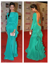 Wholesale 2013 Fall backless Long Sleeve Evening Dresses th Ammy Awards Red Carpet Party Celebrity Dresses Dark Green high neck Prom Pageant Gown