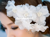 Band Silk Flower Faux Pearl Silk Flower Wholesale - The Bride Headdress Headdress Flower Hair Accessories Pearl White Red Flowers Lily