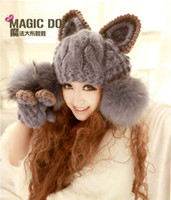 Wholesale Women Wool Hat Girl Hand Knit Wool Hat Winter Women s Handmade Knitted Hat Earmuffs Wool Cap