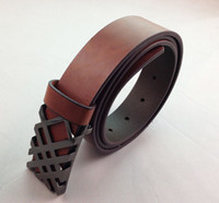 1pcs Men Brown Genuine Cow Leather Unique Buckle Belt #23814