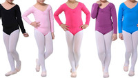 Wholesale New kids children girls students long sleeve black pink blue purple lycra cotton dance gymnastics leotard camisole size years