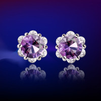 Wholesale 925 Sterling Silver Earrings Stud Mosaic Garnet Amethyst Rock Crystal Fashion Earrings Women Beauty TY0015
