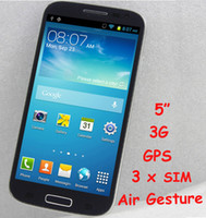 Wholesale Air Gesture HTM MTK6572 Dual Core Android Smartphone quot Mobile G GSM Unlocked GPS Tri Three SIM S4 SIV I9500 H9503