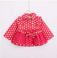Girl Turn-down Collar 100% Cotton New Arrival Kids Coat 2013 Autumn Polka Dot Girls Double Breasted Trench Coat 100%Cotton Three Colors