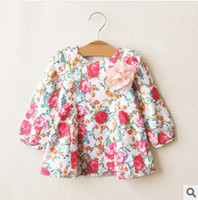 Wholesale New Childrens Dress Japanese Retro Style Classical Flower Printed Mini Dress Long Sleeve A line Dress