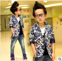 Wholesale New Arrival Kids Set Handsome Boys Blue And White Porcelain Jacket And Jeans Pieces Set Kids Autumn Fashion Casual Set