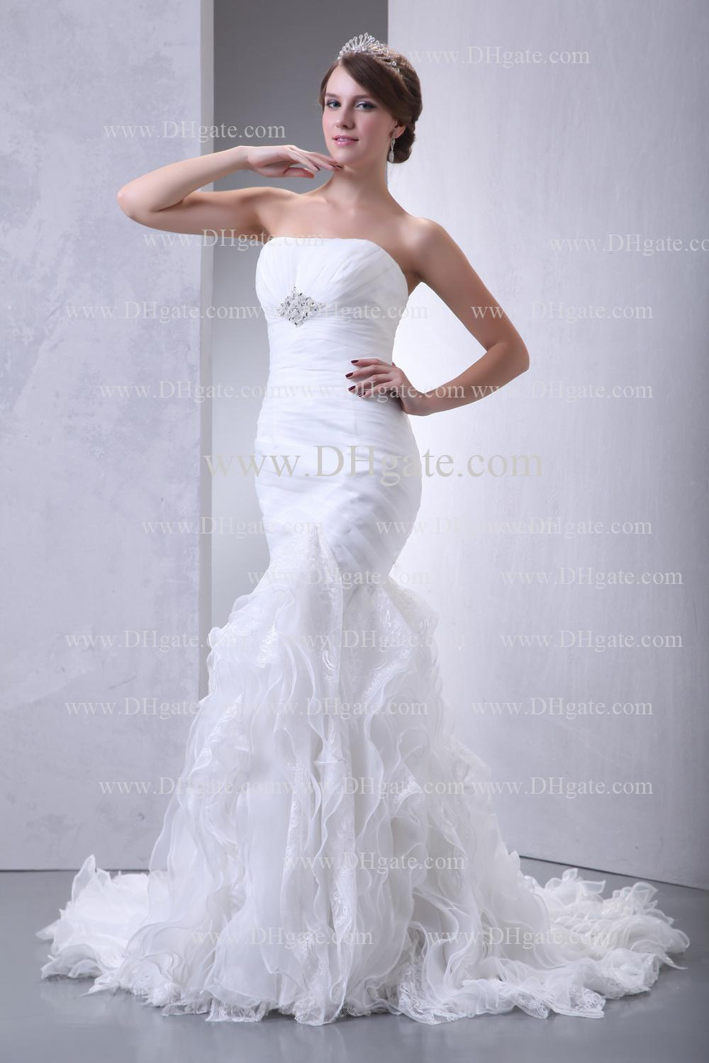 2013 new cheap mermaid wedding dresses with lace ruffles for Cheap lace mermaid wedding dresses