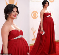 A-Line Modern Ruffle Newest Morena Baccarin The 65th Emmy Awards Red Carpet Celebrity Dresses 2013 Red Chiffon Sweetheart Maternity Backless Evening Pageant Gown