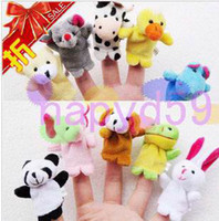 Wholesale 10pcs free ship mini animals hand puppet toys finger doll baby toys thumb dolls