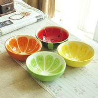 Wholesale Fresh Glaze Fruit Ceramic Rice Bowl Soup Bowl Color Drawing Japanese Fruit Bowl Set of Lime Lemon Orange Watermelon Design sets