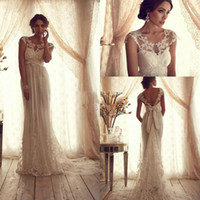 Wholesale Sexy A line Lace Bridal Gowns Sheer Lace Crew Neck Backless Empire Summer Beach Vintage Wedding Dresses with Appliques Sash Bow