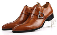 Wholesale High grade Fashion buckles man genuine leather dress shoes business formal pointed toe mens shoes